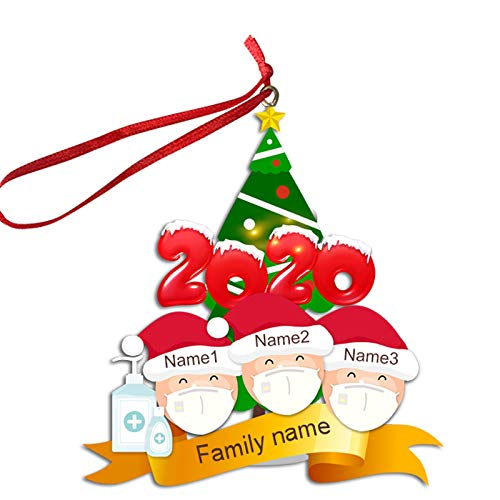 Sunerly 2020 Xmas Christmas Hanging Ornaments, Family Personalized Ornament Opening Presents, Survived Family Christmas Eve Xmas Tree Bauble Decoration Kit (A03)