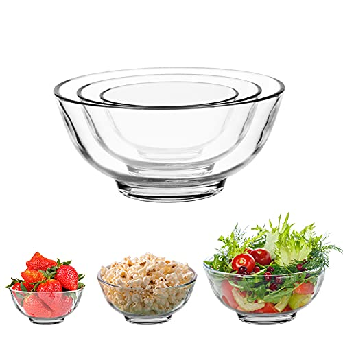 6 PACK Glass Bowls, SGAOFIEE Small Glass Nesting Bowls Set for Kitchen Prep, Cereal, Soup, Dips, Dessert or Salad Bowls (4.5inch + 5.5inch + 6.5inch)