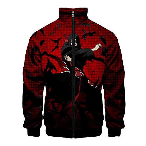 Thimen sweatshirt Naruto 2019 Nieuwe druk Japanse Anime 3D gelegenheden Slim mannen opstaande kraag jas jas jas Casual trainingspak jeugd kleding locker rood