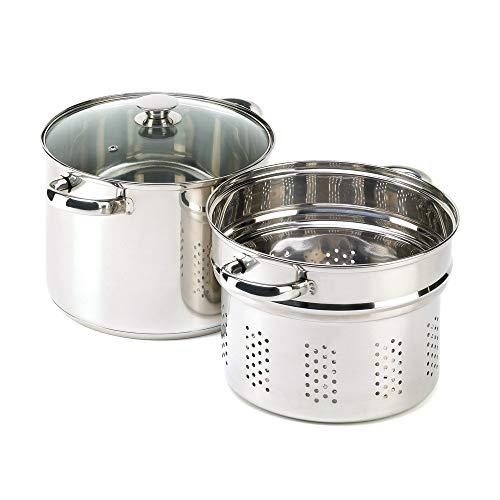 VERDUGO GIFT Stainless Pasta Cooker Stock Pot Strainer Lid Set, 8 quart (Renewed)