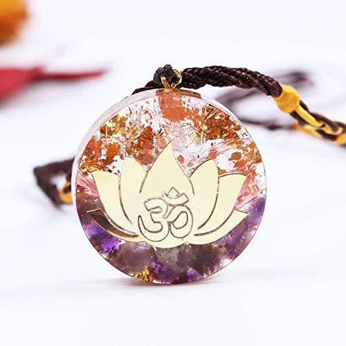 Amatista Ucjhxfr Colgante Lotus Energy Colgante Ucjhxfr, cristal rosa, resina curativa, venta directa
