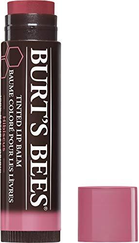 Burt's Bees 100 Prozent Natürlich getönter Lippenbalsam Hibiskus, mit Sheabutter und pflanzlichem Wachs, 1 Stift