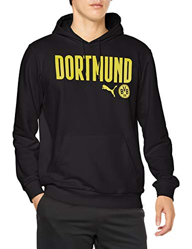 PUMA Herren BVB ftblCore Wording Hoody Pullover, Black-Cyber Yellow, 3XL