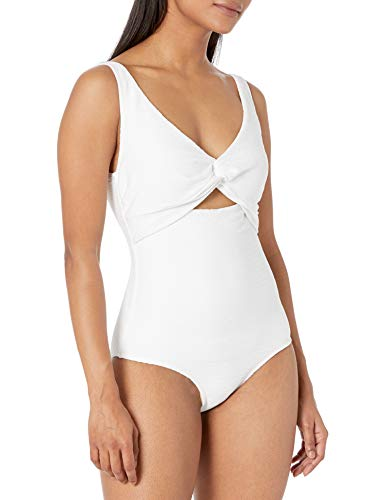Anne Cole Women's Over The Shoulder One Piece Swimsuit with Cutout, White, 8
