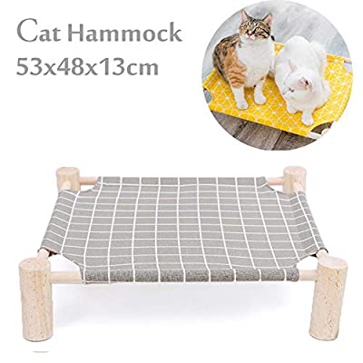 Gorgebuy Cat Beds Cat Hammock - Square Removable and Washable Small Dog and Cat Bed with Wooden Frame and Canvas Pad, Pet Furniture Sleeping Mat for Within 17.5kg Cat and Dog by Gorgebuy