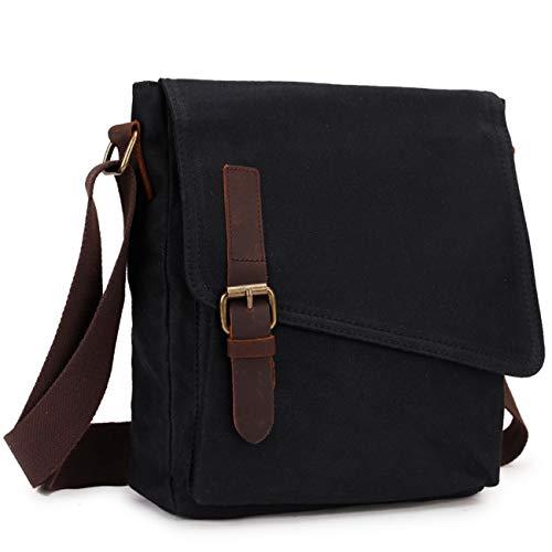 Messenger Bag,Unisex Shoulder Bag Small Water Resistant Men Canvas Crossbody Bag Black VONXURY