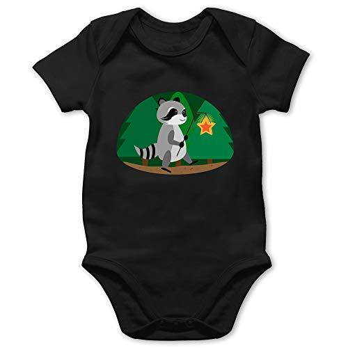 Tiermotive Baby - Waschbär Laterne - 18/24 Monate - Schwarz - Tier - BZ10 - Baby Body Kurzarm für Jungen und Mädchen