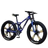 Bicicletas de Montaña 26 Pulgadas Ruedas Gruesas Antideslizantes Fat Tire Mountain Trail Bike para Hombres Mujeres Niños Niñas Bicicleta de Suspensión Doble y Freno de Disco Doble - Personalidad Cool