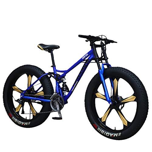 Mountain Bikes 24 inch/26 inch Wheel Road Bike Adult Fat Tire Mountain Trail Bike 7/21/24/27 Speed Bicycle Full Suspension MTB Bikes for Men or Women High-Carbon Steel Frame Dual Dual Disc Brake