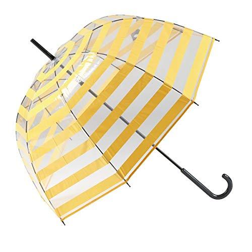 GOTTA Paraguas Transparente Largo de Mujer con Forma de cúpula. Antiviento y Manual. Estampado Rayas - Amarillo