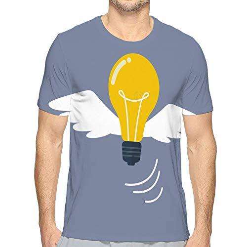 Men's Short Sleeve Dome Tee Light Bulb Flying Like Bird Colorful