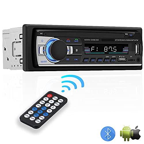 NK Auto Radio Coche - 1 DIN - 4x40W - Bluetooth 4.0 , Función AUX, Reproductor MP3 y Doble Puerto USB, FM Sonido Estéreo, Llamadas Manos Libres, Mando para Control Remoto, Pantalla LCD, iOS & Andr