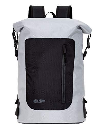 Roll Top Rucksack aus Plane Bestway Backpack Driver Herren & Damen Tagesrucksack Freizeitrucksack + Trinkflasche (Grey 2800)