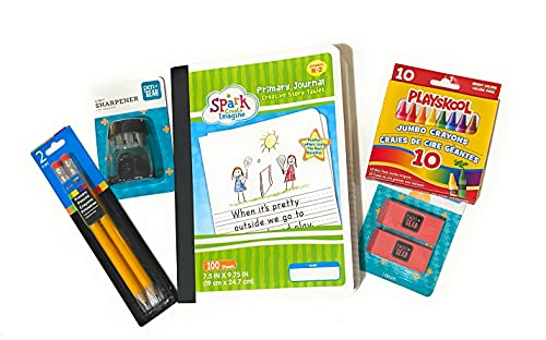 TOS Half Page Ruled Primary Journal, Grades K-2, 100 Pages Back to School Supplies K-2 Writing Bundle