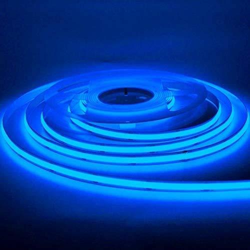 Tira de luz LED flexible de 16.4FT/5M COB DC12V/24V 384leds/m cinta impermeable doblable (12V, azul)
