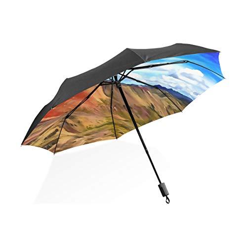 Regenschirm Jungen Bunte Kunst Ölgemälde Landschaftlich Tragbare Kompakte Taschenschirm Anti Uv Schutz Winddicht Outdoor Reise Frauen Frauen Regenschirm Regen Stiefel