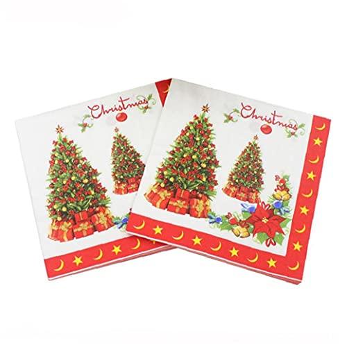 Ruluti 20 Pcs/Pack Napkins Navidades Impreso Papel Servilleta Desechable Tailware Accesorios para Cena De Almuerzo...