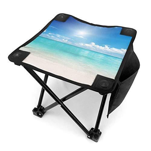 End Nazi Tabouret de Camping Chaises Pliantes Blue Ocean Sunrise on The Beach Chaise Portable
