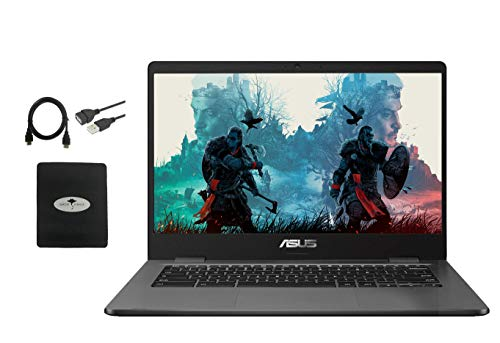 "2021 ASUS 14"" Light Thin Chromebook Student Laptop, Intel Celeron N3350, 4GB RAM 32GB eMMC, Webcam, Chrome OS(Google Classroom Zoom Compatible) Bundle W/ GM 3in1 Accessories"
