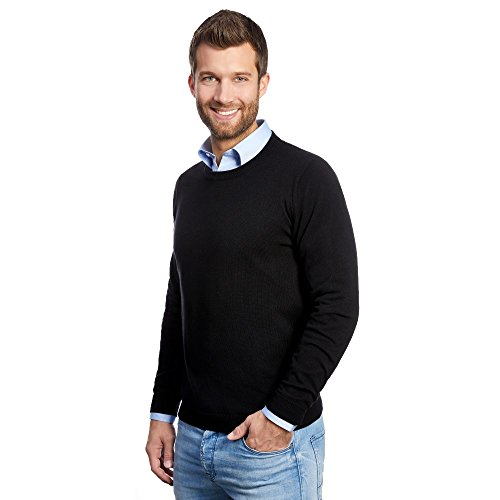L. Bo Pullovers, Cozy: Herren Winter Pullover / Sweatshirt Rundhals aus Kaschmir und Baumwolle- Gr. XXL, Schwarz