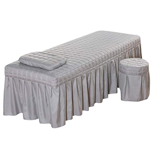 joyMerit Professional Massage Bed Bedding Linen Table Skirt With Face Breath Hole - Grey-L