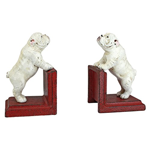 Design Toscano SP2524 Over the Fence Bulldog Cast Iron Sculptural Bookend Pair, full color