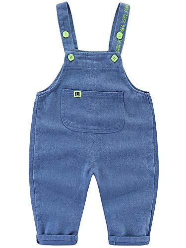 Baby Kleinkind Jungen Mädchen Basic Denim Latzhosen Overall Baumwolle Jeans Hose mit Hosenträger Süß Lieblich - Classic Hellblau Jeans Größe 90