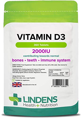 Lindens Vitamin D3 2000IU Tablets - 360 Pack - Potent 1000% Nrv Dose Contributes to Healthy Bones, Teeth, Muscle & Immune Function - UK Manufacturer, Letterbox Friendly