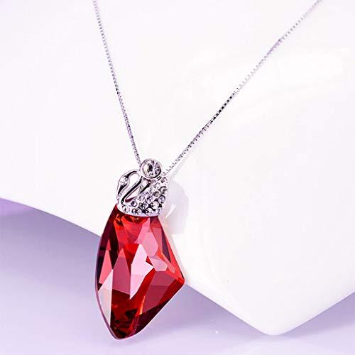 """zlw-shop Collar de Mujer Sintética cristalina imitación Colgante de 18"""" de la Cadena de Cadena de Plata niñas Red Crystal Irregular clavícula Cadena Collares Pendientes"""