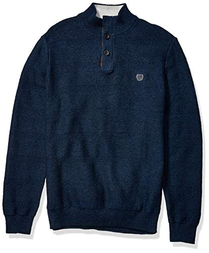 Chaps Men's Classic Fit Button Mock Sweater, Navy Twist, M