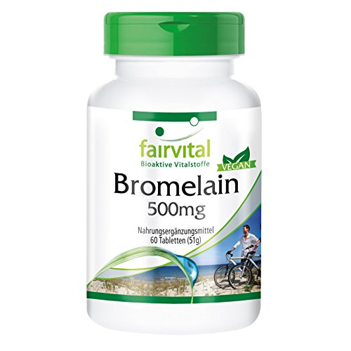 Bromelina 500mg - Enzima natural de la piña - Suplemento de Bromelina VEGANO - Dosis elevada - 1.200 F.I.P. - 60 Comprimidos - Calidad Alemana