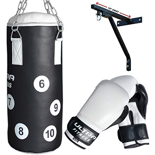 ULTRA FITNESS Kids Punch Bag with 6oz Junior Gloves & Wall Bracket set for Boxing