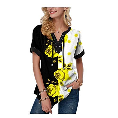 5XL Plus tamaño de la ropa de las mujeres de manga corta camisetas de moda de impresión de flores vendaje con cuello en v verano Tee suelta casual señora camiseta