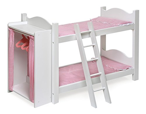 Badger Basket Doll Bunk Beds with Ladder and Storage Armoire (fits American Girl Dolls)