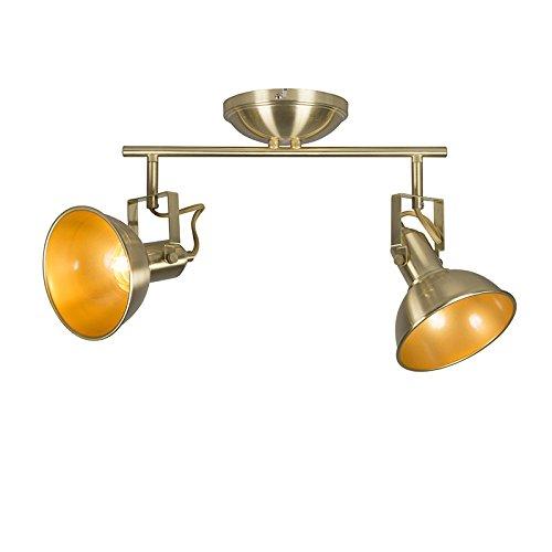 QAZQA rústico Plafón dorado/latón orientable 2-luces - TOMMY Acero Alargada Adecuado para...
