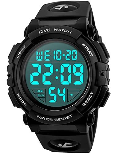 CIVO Montre Homme Sport Militaire étanche Montre Digitale Chronomètre Alarme Lumière LED Montres Bracelet Hommes Numerique Mode Grand Cadran Noir