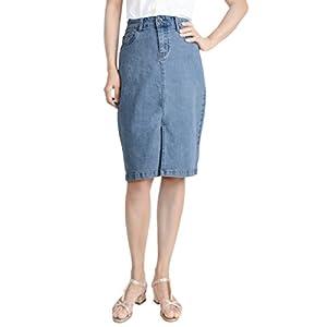 Women Comfy Midi Denim Skirt Soft Stretch Bodycon Blue Jean Pencil skirt