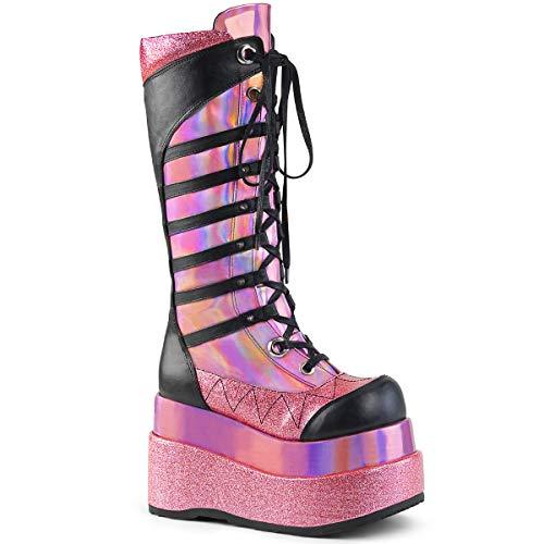 Demonia BEAR-205 Pink Hologram Patent-Blk Vegan Leather UK 3 (EU 36)