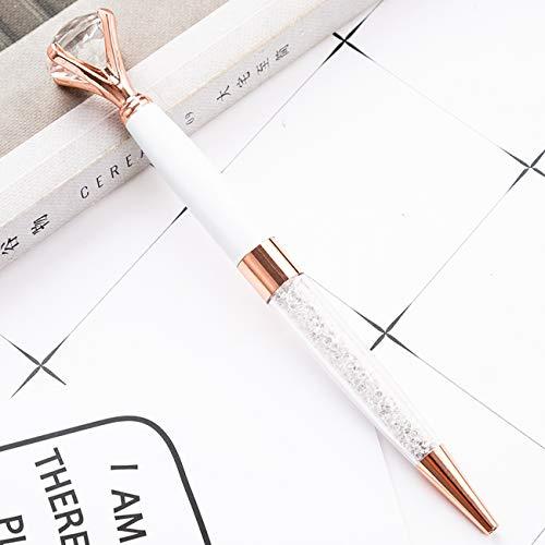 edler Kristall Kugelschreiber mit Diamant/schwarze Schrift/in schöner Box (Weiss/Rosé)