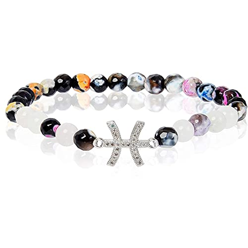 Juvale Zodiac Pisces Bracelet with Agate Moon Stone Beads, One Size