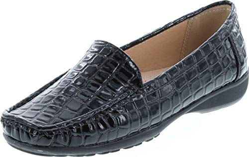 Pierre Dumas Hazel-7 Women's Casual Flexsole Slip On Loafer,Black Croc,6