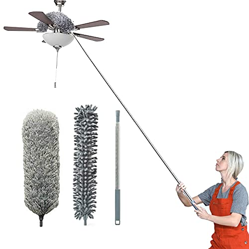"""Telescoping Microfiber Duster,Dsuter with 100"""" Stainless Steel Extension Pole and Protective Cap,Detachable & Washable & Bendable,Cleaner for Ceiling Fan,Lamps,Chandelier,Blind,Wall,Cobweb,Car (Gray)"""