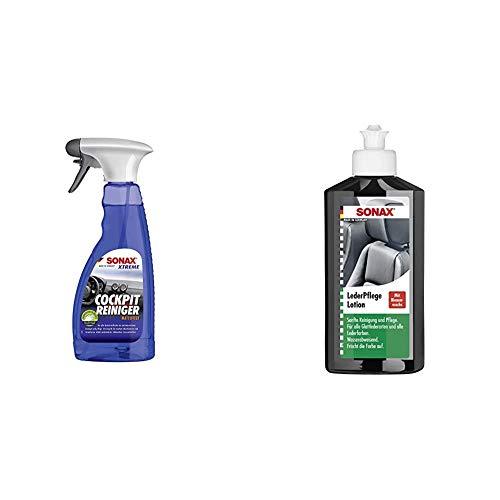 SONAX Xtreme CockpitReiniger Matteffect (500 ml) Reinigung und Pflege für alle Kunststoffoberflächen im Autoinnenraum | Art-Nr. 02832410 & 291141 Leder-Pflege-Lotion, 250 ml