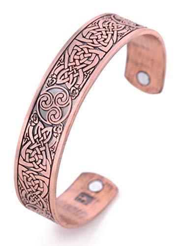 VASSAGO Vintage Amulet Nordic Viking Irish Celtic Knot Triskelion Triskele Magnetic Health Cuff Bracelet for Men Women (Antique Copper)