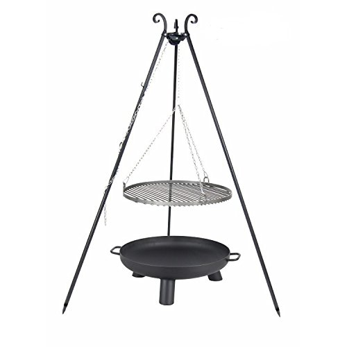 Schwenkgrill Set best. aus Dreibein, Feuerschale 80 cm und Stahl Grillrost 70 cm
