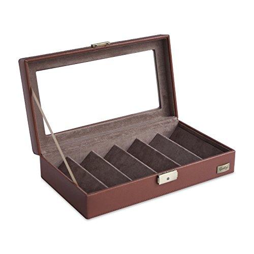 CORDAYS - Scatola Porta Occhiali con Vetro, Serratura, Chiave, e divisori per 6 Occhiali.- Colore Marrone. CDM-00028