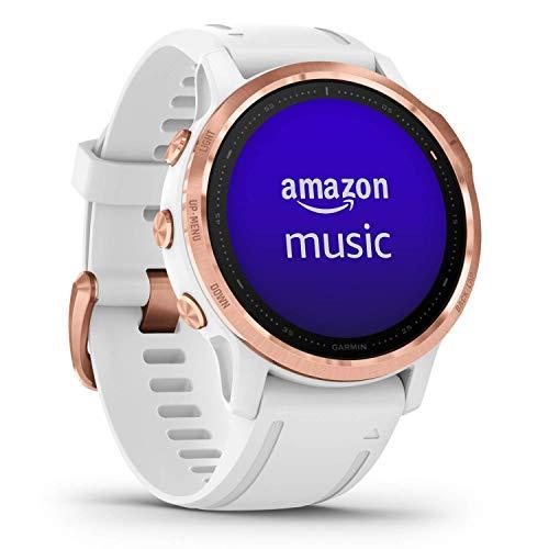 Garmin fēnix 6S Pro - Reloj GPS multideporte con mapas, música, frecuencia cardíaca y sensores, Oro rosa con correa blanca