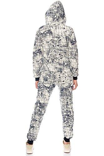 Crazy Age Damen Jumpsuit Overall Hausanzug Freizeitanzug Jogginganzug Einteiler Sportanzug CA 2830 (Navy, M) - 4