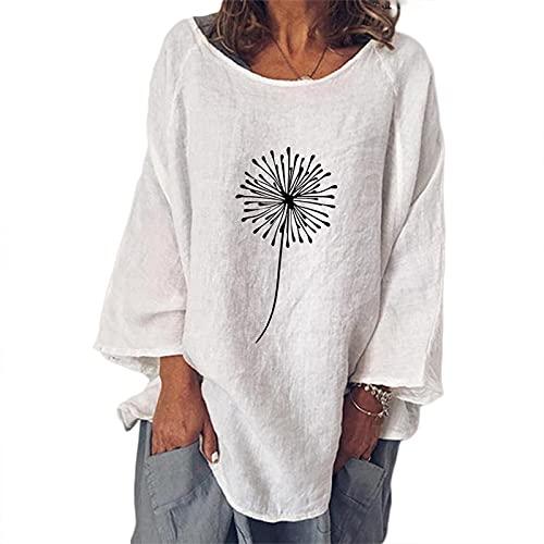 Fishoney - Camiseta para mujer, cuello redondo, manga larga, estampado de diente de león, blanco, L