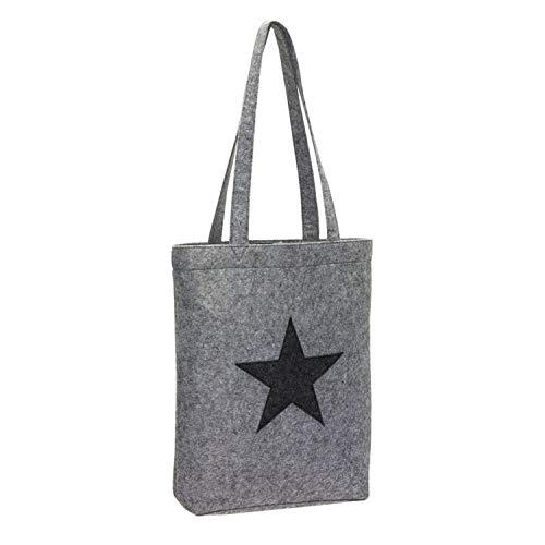 Einkaufstasche Filz Stoff-Tasche Shopper Filztasche Einkaufs-Korb grau mit Stern